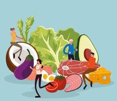 people and healthy food vector