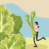 woman with asparagus and lettuce vector