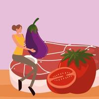 woman with meat and vegetables vector