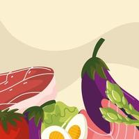 vegetables, fish and meat vector