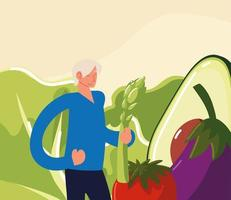 boy with fresh vegetables vector