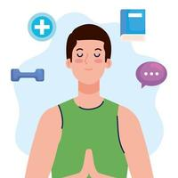 mental health concept, man with mind and healthy icons vector