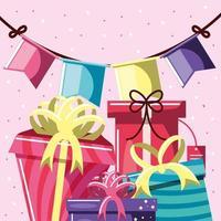 banderines y regalos de cumpleaños vector