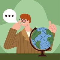 teacher and school globe vector