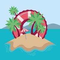 summer island with lifebuoy vector