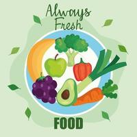 banner always food fresh, fruits and vegetables, concept healthy food vector
