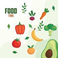 Banner con tiempo de comida verduras y frutas, concepto de comida sana vector
