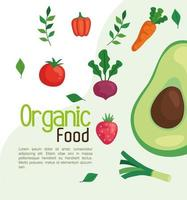 Banner con alimentos orgánicos, verduras y frutas, concepto de comida sana vector