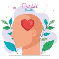 mental health concept, profile head with heart vector