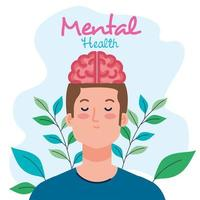 mental health concept, man with healthy mind vector
