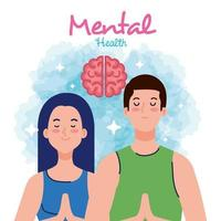 mental health concept, couple with healthy mind vector