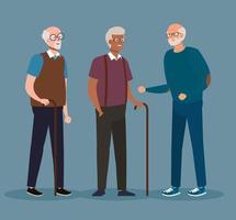 group cute old men, senior men smiling vector