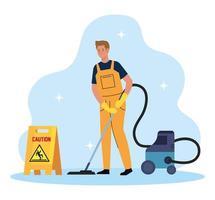 Hombre trabajador de limpieza con aspiradora, conserje de hombre con aspiradora y señalización de precaución vector