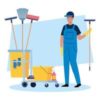 man cleaning worker with cleaning trolley, man janitor with cleaning trolley vector