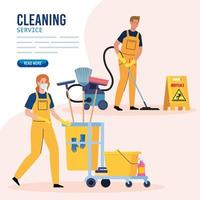banner, janitors team cleaning service, couple cleaners wearing medical mask, in uniform working with professional equipment of cleaner vector