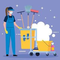 woman cleaning worker wearing medical mask with cleaning trolley, woman janitor wearing medical mask with cleaning trolley vector