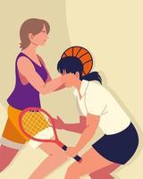 women play tennis and basketball vector