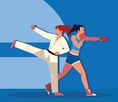 boxeadora y kickboxer vector