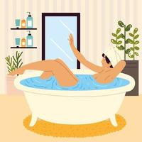woman on bathtub vector