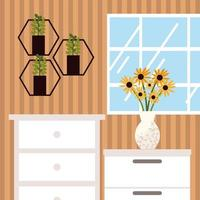 home shelves with plants vector