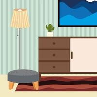 home stool and lamp vector
