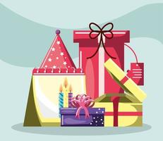 birthday gifts, candles and hat vector
