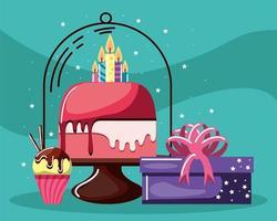 pastel de cumpleaños, cupcake y regalo vector