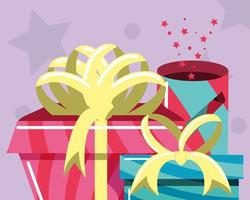 birthday gifts and confettis vector