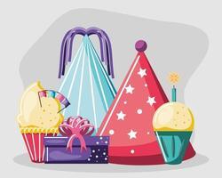 cupcakes de cumpleaños y sombreros vector