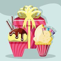 birthday cupcakes and gift vector