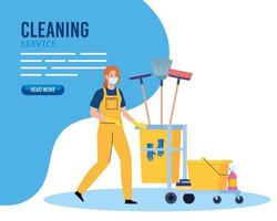 banner, woman cleaning worker wearing medical mask with cleaning trolley, woman janitor wearing medical mask with cleaning trolley vector