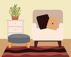 sillón interior para el hogar vector