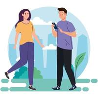 couple performing leisure outdoor activities, couple using smartphone device vector