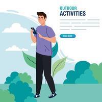 banner, man performing leisure outdoor activities, young man using smartphone vector