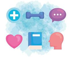 set icons, of mental health prevention vector