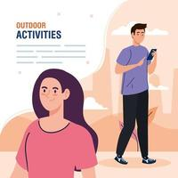banner, couple performing leisure outdoor activities, couple using smartphone device vector