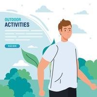 banner, man performing leisure outdoor activities, young man in landscape vector