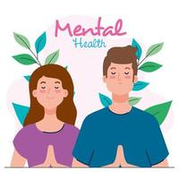 mental health concept, couple with healthy mind, and leaves decoration vector