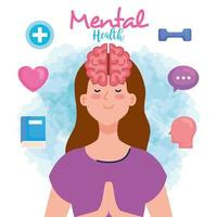 mental health concept, woman with mind and healthy icons vector