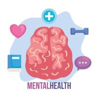 mental health concept, with brain, positive mind with healthy icons vector