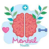 mental health concept, brain with leaves, positive mind with healthy icons vector