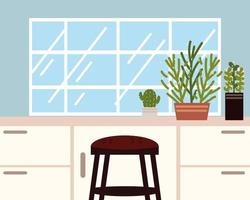 home counter and stool vector