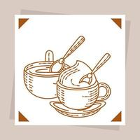 coffee capuccino and latte vector