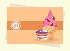 ice cream and cupcake vector