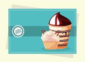 dessert cupcake and ice cream vector
