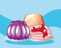 jelly and pudding with cream vector