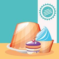 pudding, cupcake and cake vector