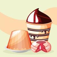 cupcake, pudding and candy vector
