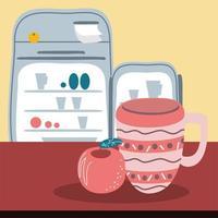 kitchen fridge and fruit vector