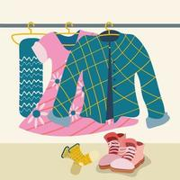 wardrobe with clothes and shoes vector